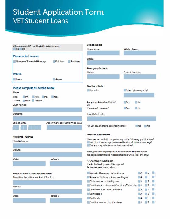 Vet student loans app form image