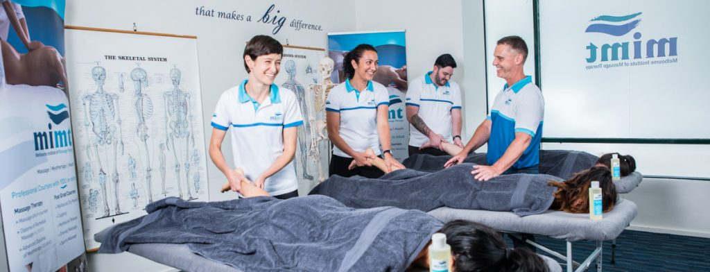 massage therapy class in training