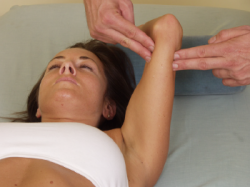 massaging a women's arm