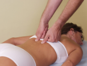 Massaging a women's back